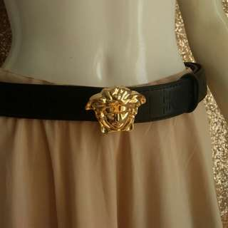 Versace Black Belt Gold Medusa Belt