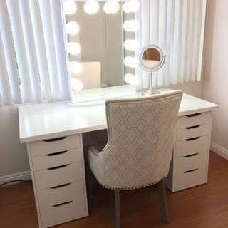 Vanity table, mirror and wooden stool