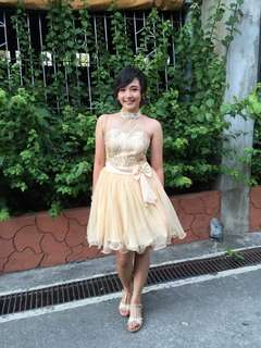 Nude cocktail prom dress