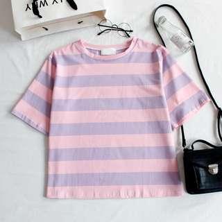 韓國軟妹少女拼色條紋寬鬆圓領短袖T恤上衣chic百搭
