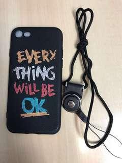 全新IPhone 7/8 黑色電話殼及掛繩---$10