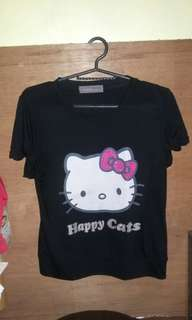 Happy Cat T-shirt (black) Kids 6-9 Years Old
