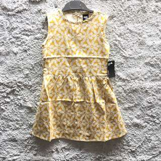 New! Dress anak kuning bunga putih 2-3 & 3-4 years