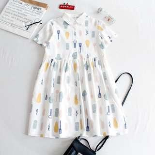 復古小清新印花廚具Polo領娃娃領寬鬆棉襯衫連衣裙中長款