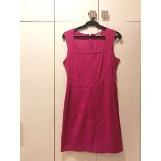 Sleeveless Knee-Length Dress in Magenta