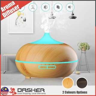 Ultrasonic Wooden Aroma Air Humidifier Diffuser Silent Rainbow Light 300ML