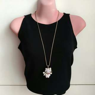 Long Necklace with Rhinestone Hello Kitty Pendant