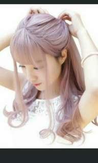 Hair wigs with bang pink ash grey