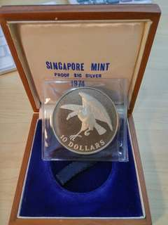 1974 Singapore $10 Dollars Eagle Silver Proof with box