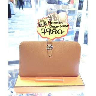 Hermes Brown (Gold Color) Togo Leather Classic Dogon Long Wallet With Coin Bag PHW 愛馬仕 啡色 牛皮 皮革 經典款 銀扣 長形銀包 長銀包 銀包 錢包 散紙包