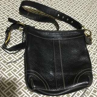 Vintage Coach Black Leather Slim Duffle