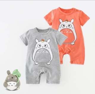 Baby Short Sleeve  Romper with Big Mouth Totoro Design