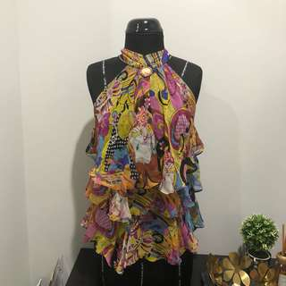 Colorful printed halter neck top