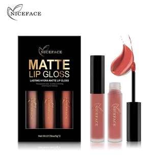 🦋NICEFACE 3Pcs/Lot Matte Long-lasting Lipstick Liquid Waterproof Lip Gloss🦋