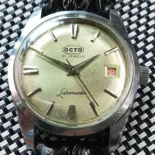 60年代瑞士產物 OCTO 樂都古董錶,原裝古董面,無番寫,紅黑字日曆,17石上鏈機芯,已抹油,行走精神,塑膠上蓋,直徑35mm不連霸的,全新皮帶,淨錶$800,有意請pm
