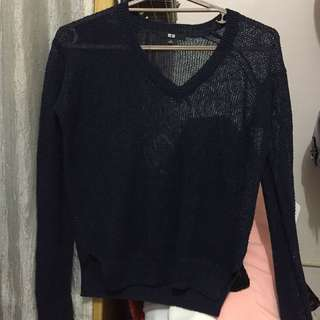 Uniqlo Navy Blue Thin Knit Sweater