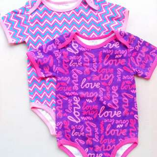 BABY STARTERS 2PC SET SHORT SLEEVED ONESIES ROMPER BODYSUIT FOR BABY GIRLS SIZE 6 MONTHS TO 9 MONTHS