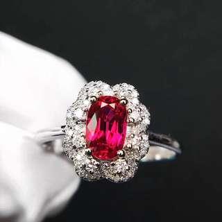 18K白金 無燒紅寶石鑽石戒指
