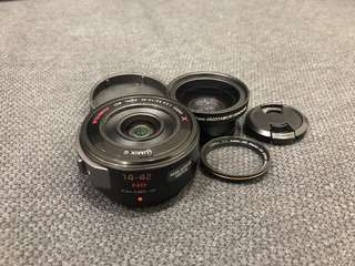 Panasonic Lumix 14-42mm X pancake zoom lens with free wide angle + macro converter lens
