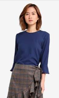 navy blue flare sleeves top