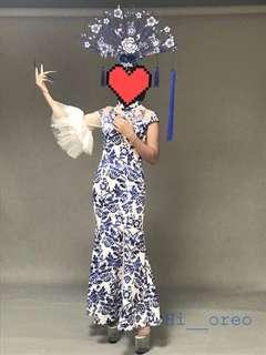 🚚 青花瓷蓬蓬袖旗袍