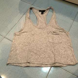 Gray crop tank top