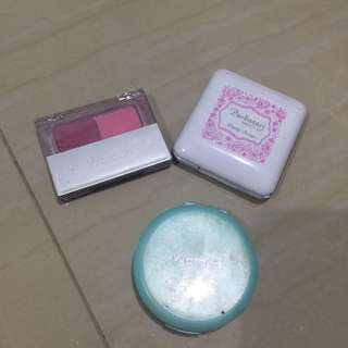 Dijual sepaket bedak wardah,blush on wardah,eyeshadow purbasari