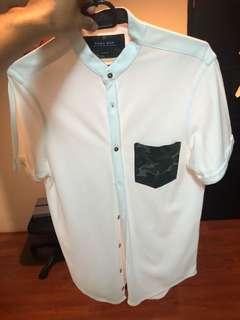 Zara men white polo with camo pocket