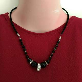 Black Beaded Princess Necklace
