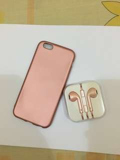 Case iphone 5+ earphone rosgold