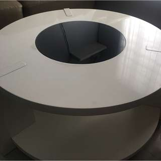 Wooden Round Center Table with Tempered Glass