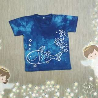 Hand Dyed and Painted Cotton T-Shirt for Toddlers