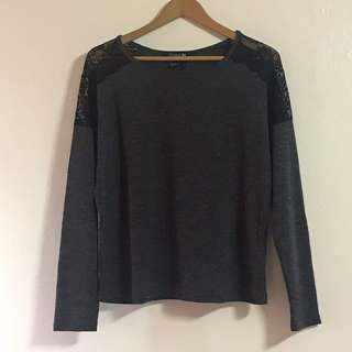 Forever 21 long sleeved top with lace detail