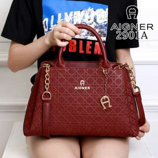 FREE ONGKIR AIGNER Modelista Cibill Embos Smooth Leather Hardware Gold 2901A*