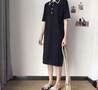 🚚 兩色 翻領black polo領襯衫洋裝 排釦洋裝