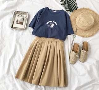 🚚 大海の少女印花短袖T恤+百搭奶茶色半身裙