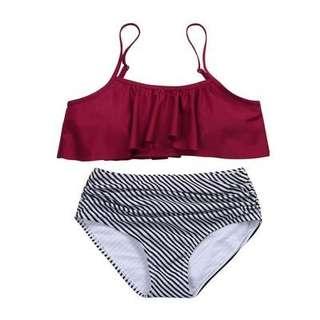 Plain Flowy High Waist Two Piece Swimwear