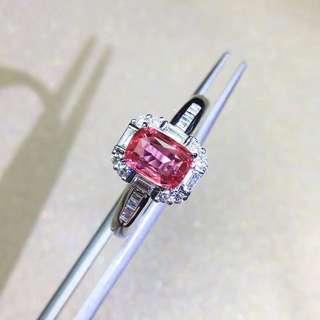 18K白金 無燒斯里蘭卡帕帕拉恰鑽石戒指