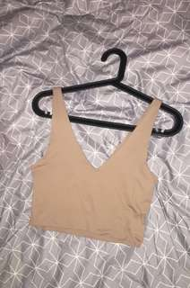 Nude v-neck crop top