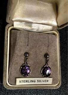 Ear Rings purple sterling silver