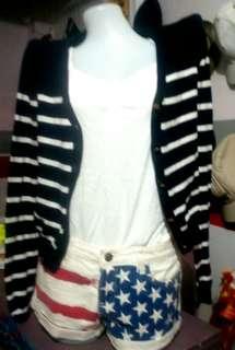 Forever 21 off-white USA flag tattered shorts