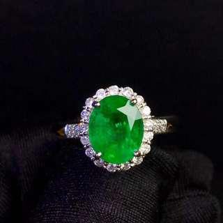 18K白金 天然哥倫比亞祖母綠鑽石戒指