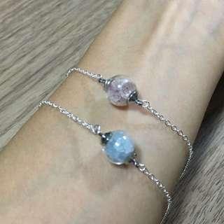 <手作>迷你玻璃球水晶手鏈 (草莓晶/海藍寶)