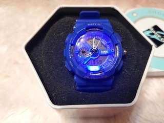 🚚 ❤Baby-G❤卡西歐Casio💙時尚藍💙 七彩顯示燈🌈 指針+電子 雙顯示 防水/運動手錶/ 抗衝擊