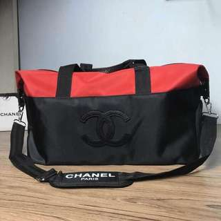 Chanel Gym Bag Two Tone Red & Black Authentic