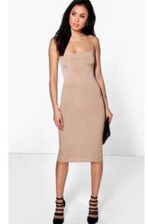 Brand new nude midaxi ribbed dress size small