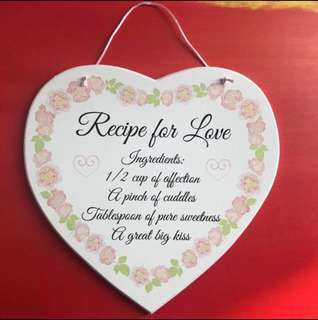 Heart Shape Plaque - Recipe for Love