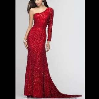 One Sleeve Shoulder Dress Red Sequin