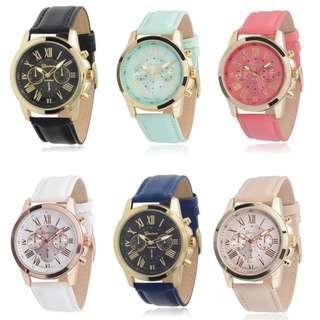 Geneva Women Fashion Roman Numerals Faux Leather Watch