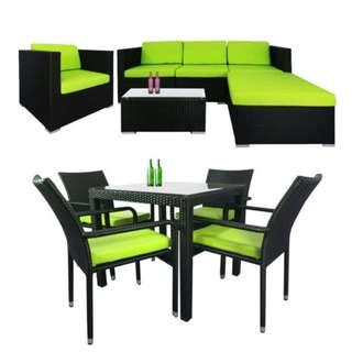 Summer Modular Sofa Set II + Palm 4 Chair Dining Set in Green Cushions